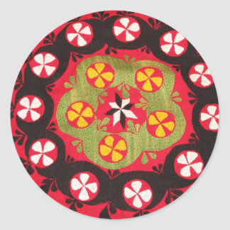 Coloful Antique Tribal  Turkish Textiles Classic Round Sticker