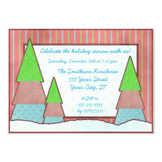 Coloful Christmas Trees Country Holiday Party Card