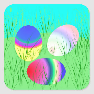 Coloful Easter eggs Square Sticker