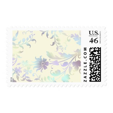 Coloful Floral Damask Pattern Postage