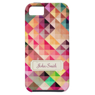 Coloful Geo Pattern with Custom Name iPhone 5 Case