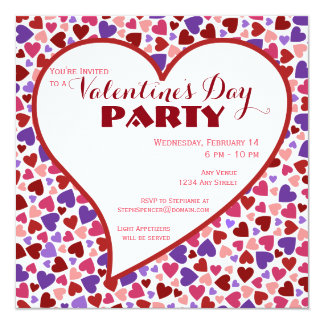 Coloful Hearts Valentine's Day Party Invitation