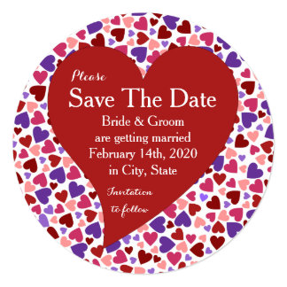 Coloful Hearts Valentine's Day Save The Date Card