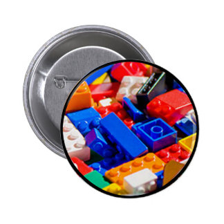 Coloful Toy Brick Pile 2 Inch Round Button