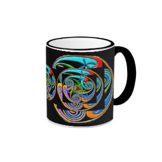 Coloful Triple Spiral Design Coffee Mug