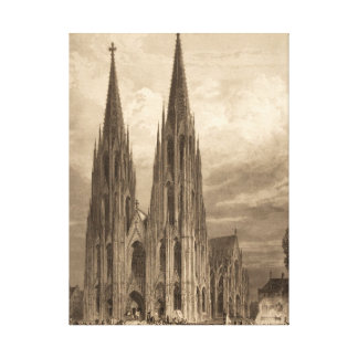 Cologne Cathedral Spire Engraving Historic Ancient Canvas Print