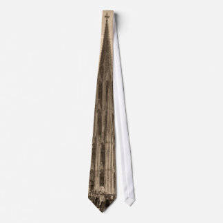 Cologne Cathedral Spire Engraving Historic Ancient Tie