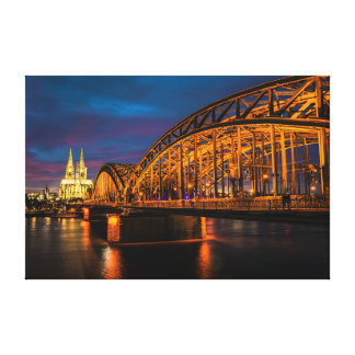 Cologne, Germany Night Scenery Canvas Print
