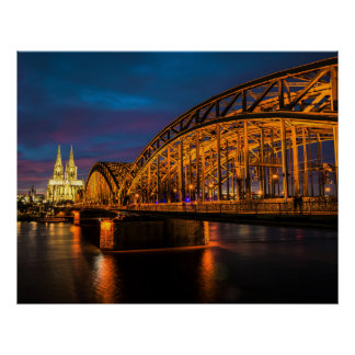 Cologne, Germany Night Scenery Poster