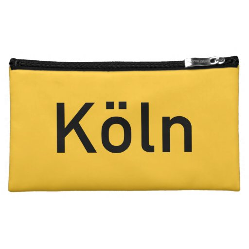 Cologne, Germany Road Sign Makeup Bags