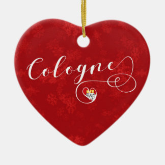 Cologne Heart, Christmas Tree Ornament, Germany Ceramic Ornament