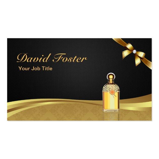 Cologne Perfume Bottle Elegant Black Gold Damask Business Card