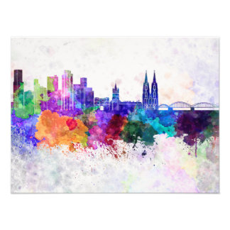 Cologne skyline in watercolor background art photo