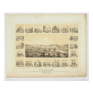 Coloma, CA. Panoramic Map 1857 (0423A) Posters