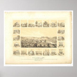 Coloma, mapa panorámico 1857 (0423A) del CA Póster
