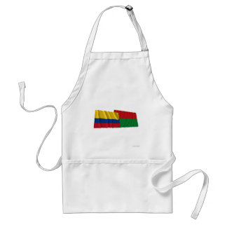 Colombia and Arauca Waving Flags Adult Apron