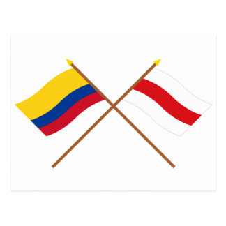 Colombia and Atlántico Crossed Flags Postcard