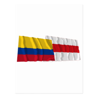 Colombia and Atlántico Waving Flags Postcard