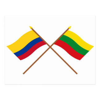Colombia and Bolívar Crossed Flags Postcard