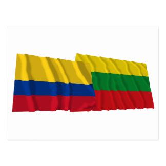 Colombia and Bolívar Waving Flags Postcard