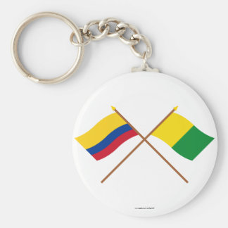 Colombia and Caldas Crossed Flags Key Chain