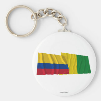 Colombia and Caldas Waving Flags Key Chain