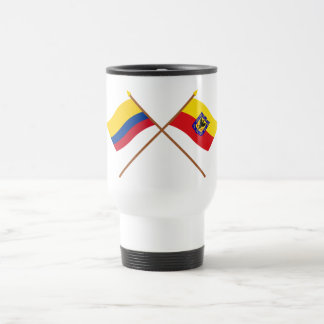Colombia and Distrito Capital Crossed Flags 15 Oz Stainless Steel Travel Mug