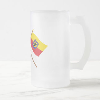 Colombia and Distrito Capital Crossed Flags 16 Oz Frosted Glass Beer Mug
