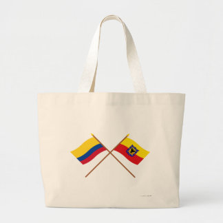 Colombia and Distrito Capital Crossed Flags Canvas Bags