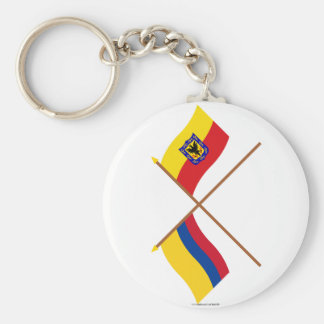 Colombia and Distrito Capital Crossed Flags Key Chain