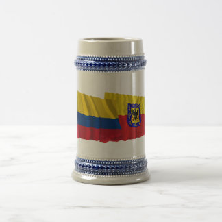 Colombia and Distrito Capital Waving Flags 18 Oz Beer Stein