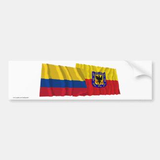 Colombia and Distrito Capital Waving Flags Bumper Stickers