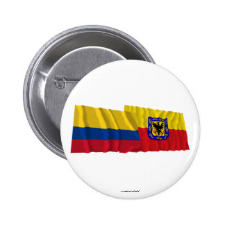 Colombia and Distrito Capital Waving Flags Pinback Buttons