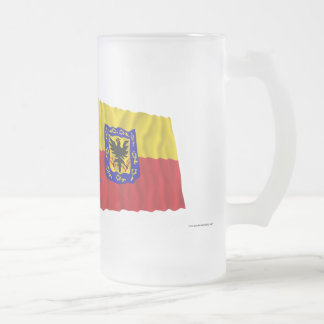 Colombia and Distrito Capital Waving Flags Frosted Glass Beer Mug