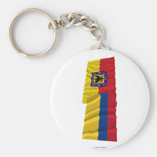 Colombia and Distrito Capital Waving Flags Keychain