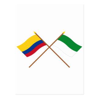 Colombia and La Guajira Crossed Flags Postcard