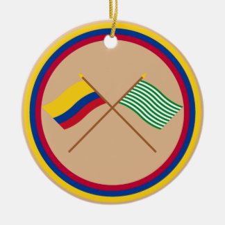Colombia and Meta Crossed Flags Double-Sided Ceramic Round Christmas Ornament