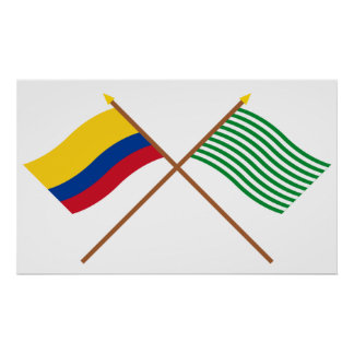 Colombia and Meta Crossed Flags Poster