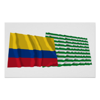 Colombia and Meta Waving Flags Poster