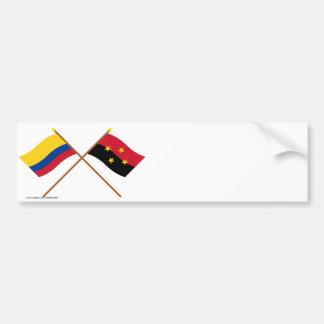 Colombia and Norte de Santander Crossed Flags Car Bumper Sticker