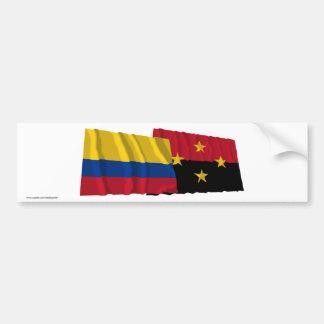 Colombia and Norte de Santander Waving Flags Car Bumper Sticker