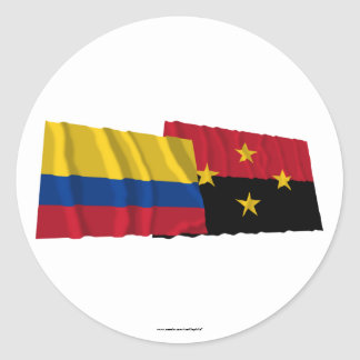 Colombia and Norte de Santander Waving Flags Classic Round Sticker