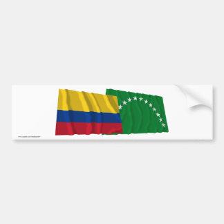 Colombia and Risaralda Waving Flags Bumper Sticker