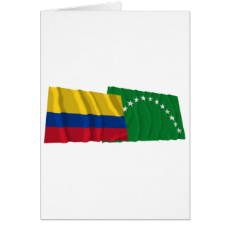 Colombia and Risaralda Waving Flags Card