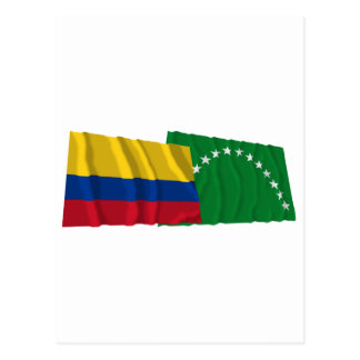 Colombia and Risaralda Waving Flags Postcard