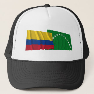 Colombia and Risaralda Waving Flags Trucker Hat