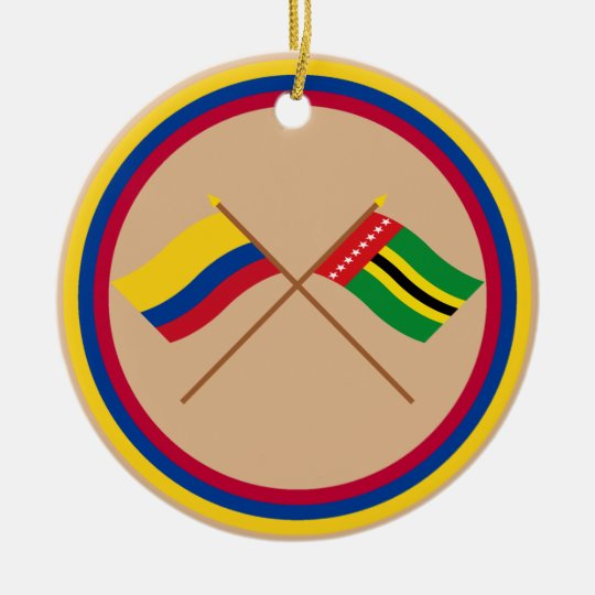 Colombia and Santander Crossed Flags Ceramic Ornament