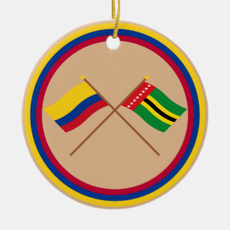 Colombia and Santander Crossed Flags Christmas Tree Ornament