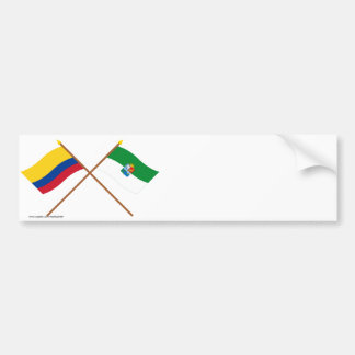 Colombia and Sucre Crossed Flags Car Bumper Sticker