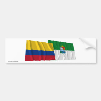 Colombia and Sucre Waving Flags Car Bumper Sticker